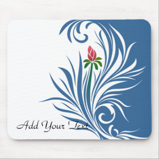Blue and White Graphic Rose Mouse Pad