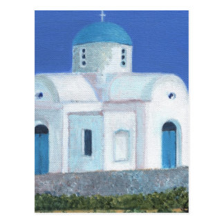 Blue And White Greek Cypriot Church Postcard