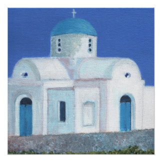 Blue And White Greek Cypriot Church Poster