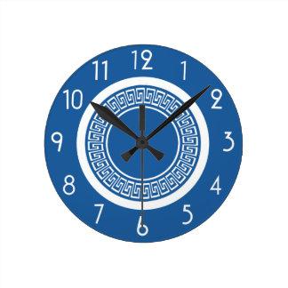 Blue and White Greek Key Clock