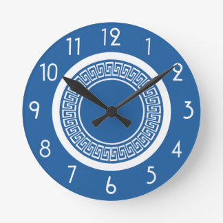 Blue and White Greek Key Clock