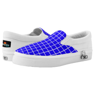Blue and White grid Slips Ons Printed Shoes