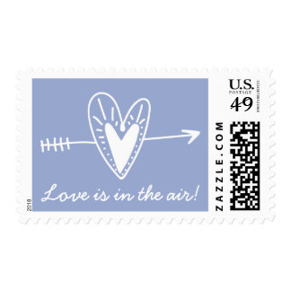 Blue And White Hand Drawn Heart Love Wedding Stamp