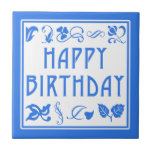 Blue and White Happy Birthday Arts and Crafts Tile