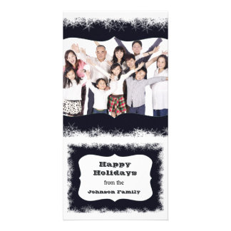 Blue and White Happy Holidays Family Photo Frame Card