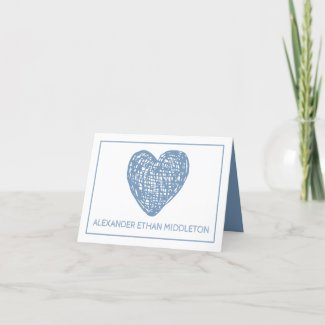 Blue and White Heart Birth Announcement