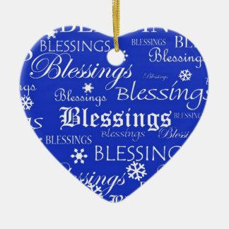 Blue and White Heart Blessings Hanukkah Ornament