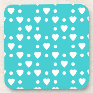 Blue and White heart pattern Coaster