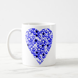 Blue and White Heart. Patterned Heart Design. Coffee Mug