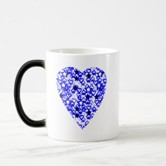 Blue and White Heart. Patterned Heart Design. Magic Mug