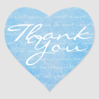 Blue and White Heart Thank You Envelope Seal