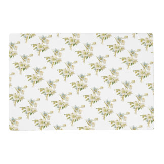 Blue and white hellebores placemat