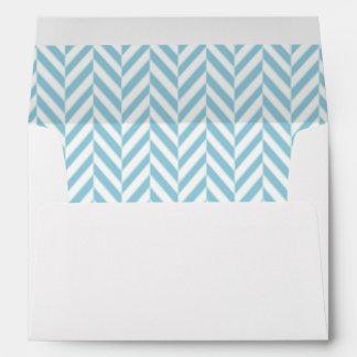 Blue and White Herringbone Lined Envelopes