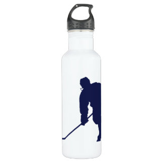 BLUE AND WHITE HOCKEY STAINLESS STEEL WATER BOTTLE