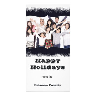 Blue and White Holiday Family Photo Photocard Card