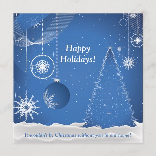 Blue and White Holiday Invitation
