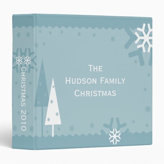 Blue and White Holiday Photo Album 3 Ring Binder