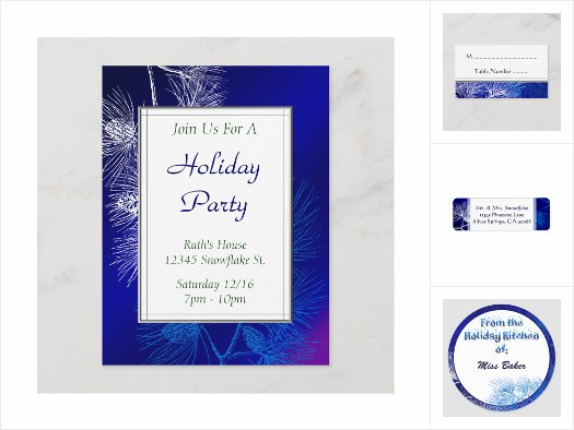 Blue and White Holiday Pine Invitations and Decor