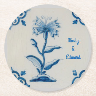 Blue and White Holland Floral personalized Round Paper Coaster