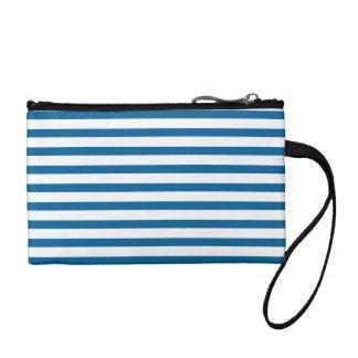 Blue and White Horizontal Stripe Change Purse