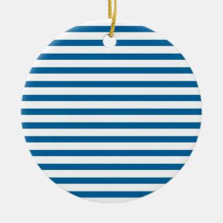 Blue and White Horizontal Stripe Christmas Ornaments