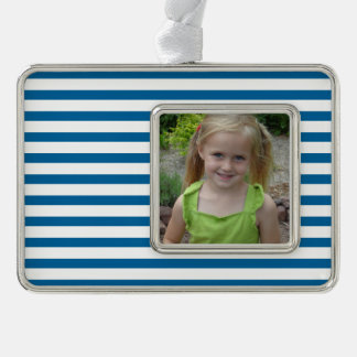 Blue and White Horizontal Stripe Silver Plated Framed Ornament