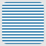 Blue and White Horizontal Stripe Square Stickers