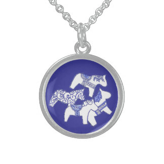 Blue and White Horses Necklace