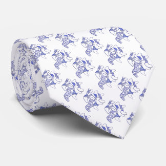 Blue and White Horses Tie