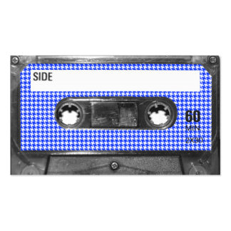 Blue and White Houndstooth Label Cassette Business Card