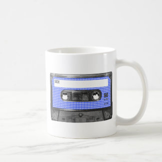 Blue and White Houndstooth Label Cassette Coffee Mug