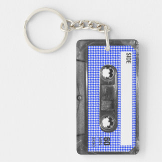 Blue and White Houndstooth Label Cassette Keychain