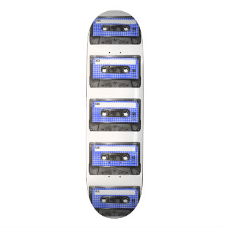 Blue and White Houndstooth Label Cassette Skateboard Deck