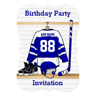 Blue and White Ice Hockey Jersey Birthday Party 5x7 Paper Invitation Card