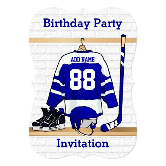 Blue and White Ice Hockey Jersey Birthday Party Invitation
