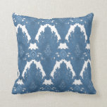 Blue and White IKAT Damask Moroccan Pattern Art Throw Pillow