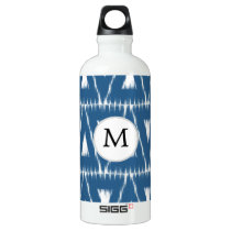 blue and white Ikat triangles Aluminum Water Bottle