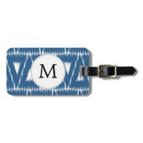 blue and white Ikat triangles Bag Tag