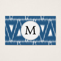 blue and white Ikat triangles Business Card