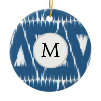 blue and white Ikat triangles Ceramic Ornament