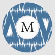 blue and white Ikat triangles Classic Round Sticker