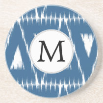 blue and white Ikat triangles Coaster