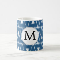 blue and white Ikat triangles Coffee Mug