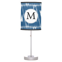 blue and white Ikat triangles Desk Lamp