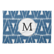 blue and white Ikat triangles Hand Towels