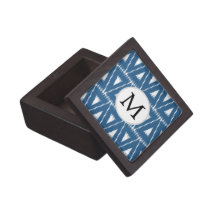 blue and white Ikat triangles Jewelry Box