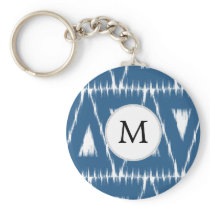 blue and white Ikat triangles Keychain