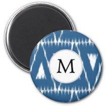 blue and white Ikat triangles Magnet