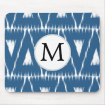 blue and white Ikat triangles Mouse Pad
