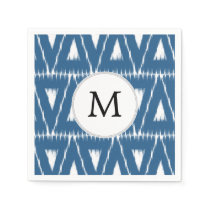 blue and white Ikat triangles Napkin